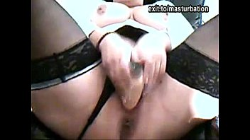 Amateur UK Slut Milf Bounces on toys whilst showing off both holes